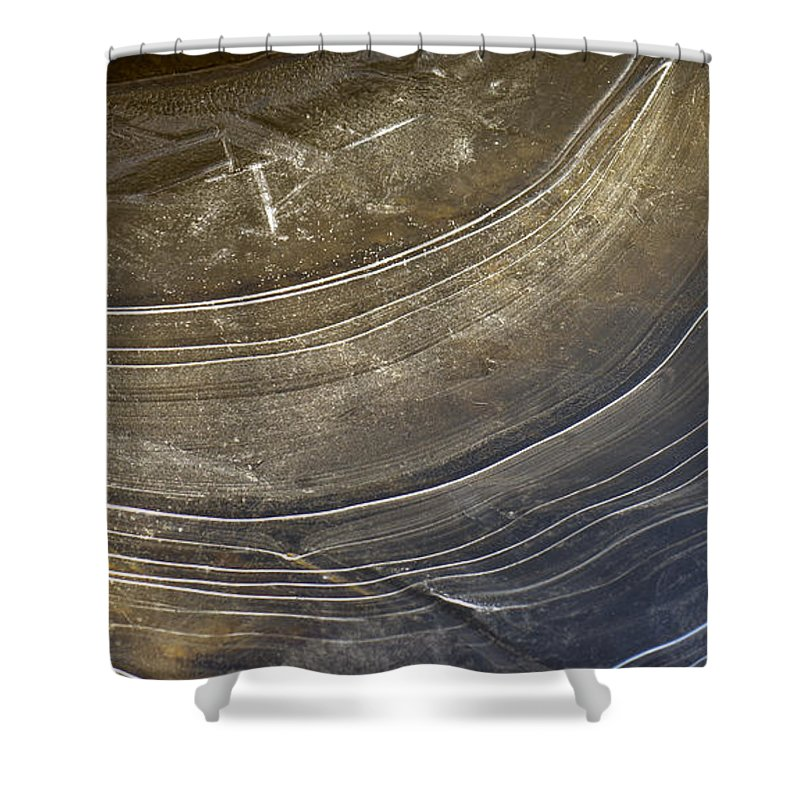 Neutral Shower Curtain featuring the photograph Ice Curve In Neutral by Joy McAdams