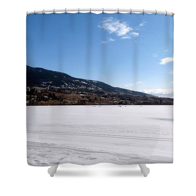 Ice Fishing Shower Curtain featuring the photograph Ice Fishing On Wood Lake by Will Borden