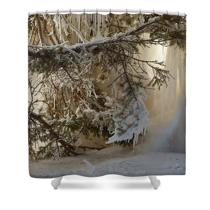 Ice Shower Curtain featuring the photograph Ice Wall by Alison Gimpel