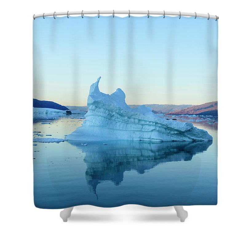 Scenics Shower Curtain featuring the photograph Iceberg In The Scoresby Sund by Berthold Trenkel