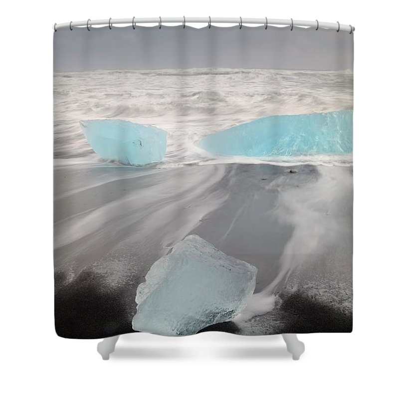 Scenics Shower Curtain featuring the photograph Icebergs Washed Up On Volcanic Sandy by Travelpix Ltd