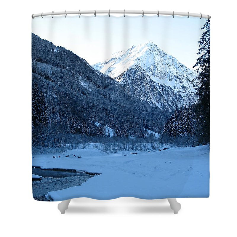 Snow Shower Curtain featuring the photograph Iceblue Snow by Christiane Schulze Art And Photography