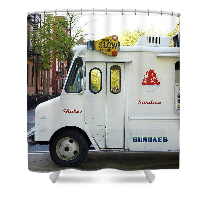 Retail Shower Curtain featuring the photograph Icecream Truck On City Street by Jason Todd