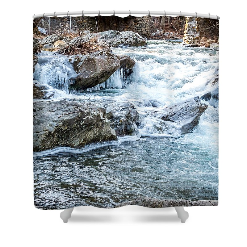 Winter Shower Curtain featuring the photograph Iced Creek by DAC Photo