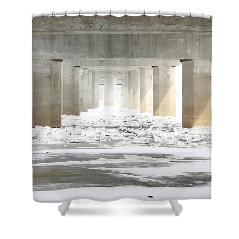 Icy Shower Curtain featuring the photograph Icy Mississippi Bridge by IMH Photog