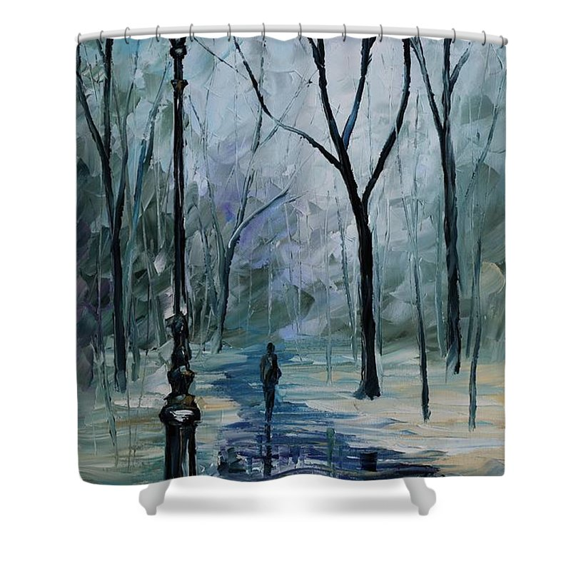 f16c3f7104c Leonid Afremov Shower Curtain featuring the painting Icy Path - Palette  Knife Oil Painting On Canvas