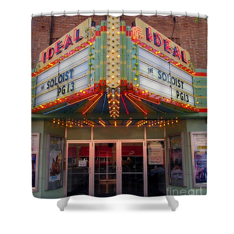 Clare Shower Curtain featuring the photograph Ideal Theater In Clare Michigan by Terri Gostola
