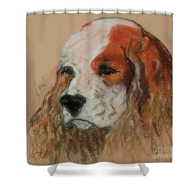 Dog Shower Curtain featuring the pastel Idle Thoughts by Cori Solomon