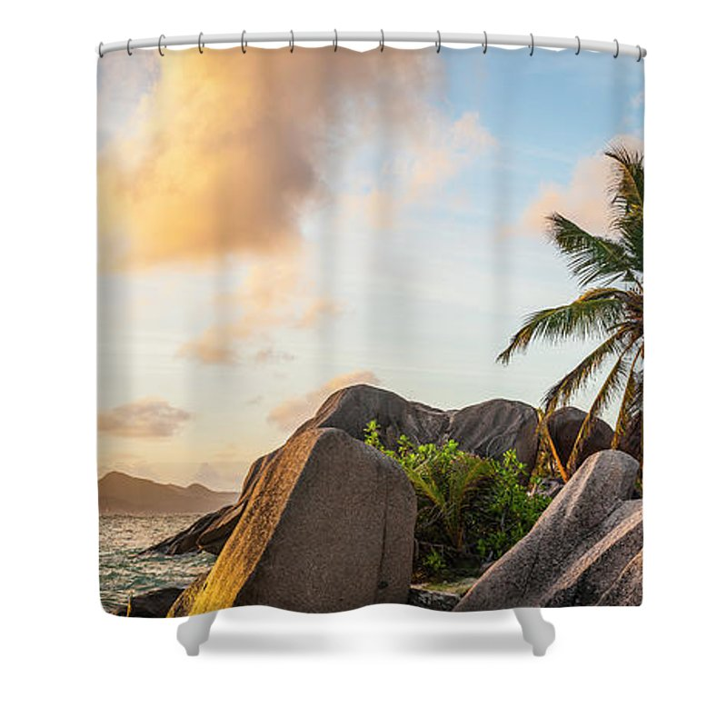 Tropical Rainforest Shower Curtain featuring the photograph Idyllic Tropical Island Sunset Over by Fotovoyager