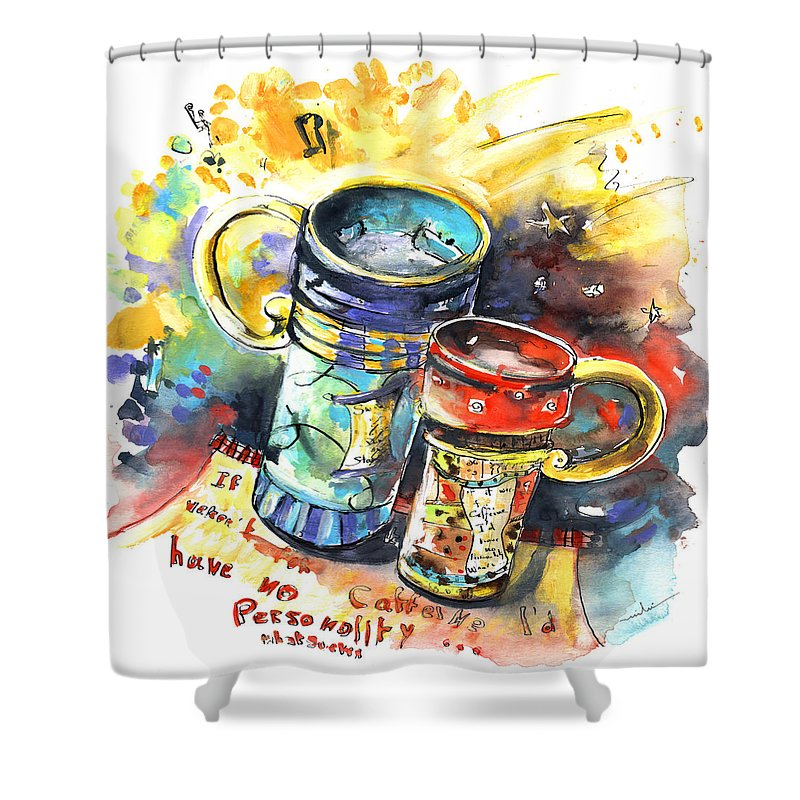 Cafe Crem Shower Curtain featuring the painting If It Were Not For Caffeine by Miki De Goodaboom