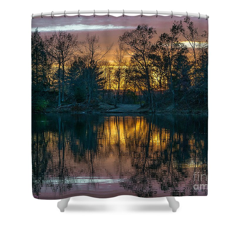 Pond Shower Curtain featuring the photograph I'll See You On The Other Side by Amy S Klein