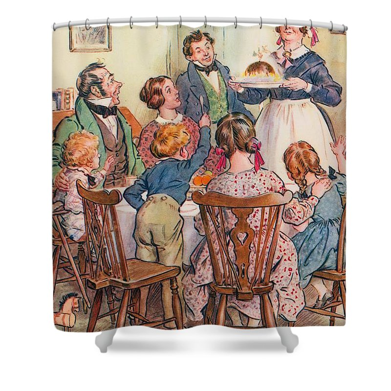 Illustration For A Christmas Carol By Charles Dickens; The Cratchit's Christmas Dinner; Wonderful Shower Curtain featuring the drawing Illustration For A Christmas Carol by Charles Edmund Brock