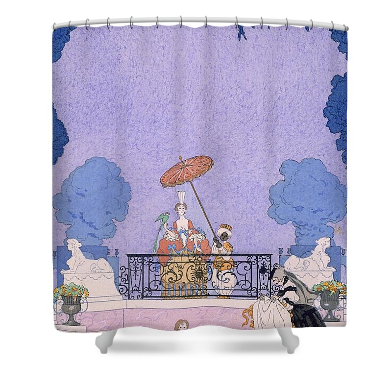 Male Shower Curtain featuring the painting Illustration From A Book Of Fairy Tales by Georges Barbier