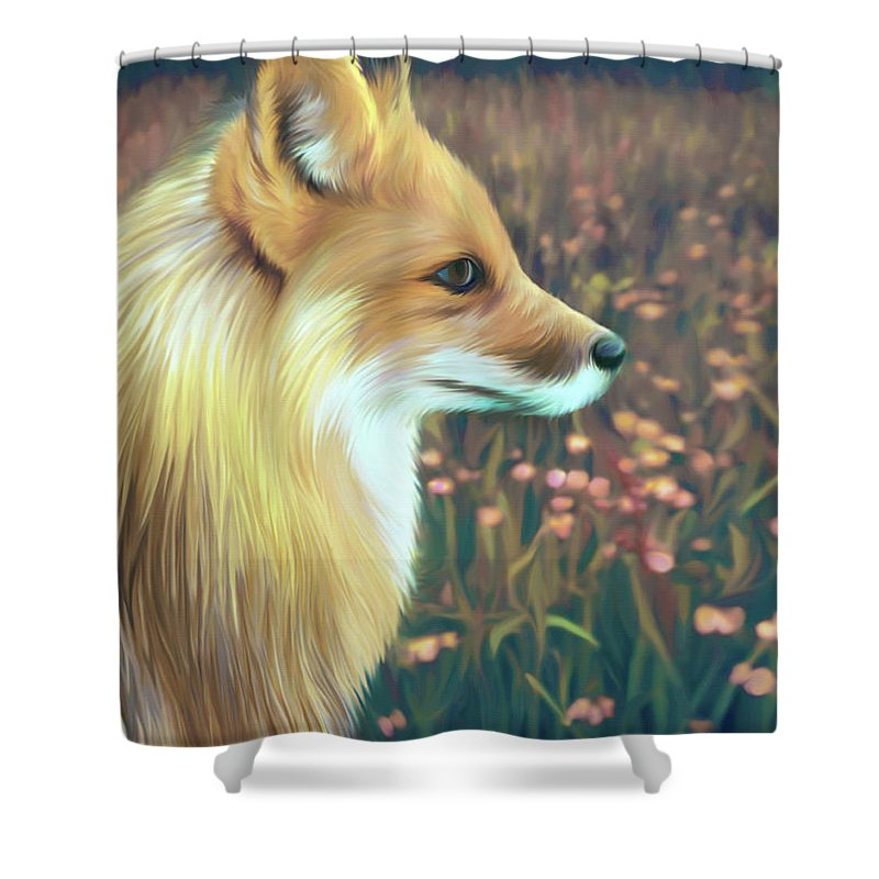 Grass Shower Curtain featuring the digital art Illustration Of Red Fox by Illustration By Shannon Posedenti