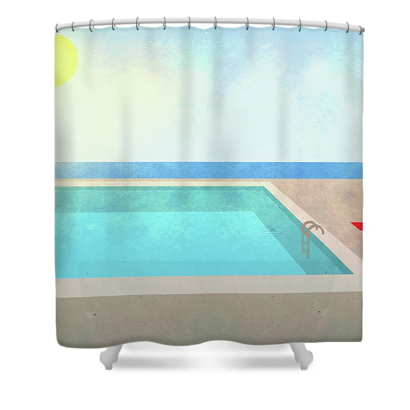 Swimming Pool Shower Curtain featuring the digital art Illustration Of Swimming Pool On Sunny by Malte Mueller