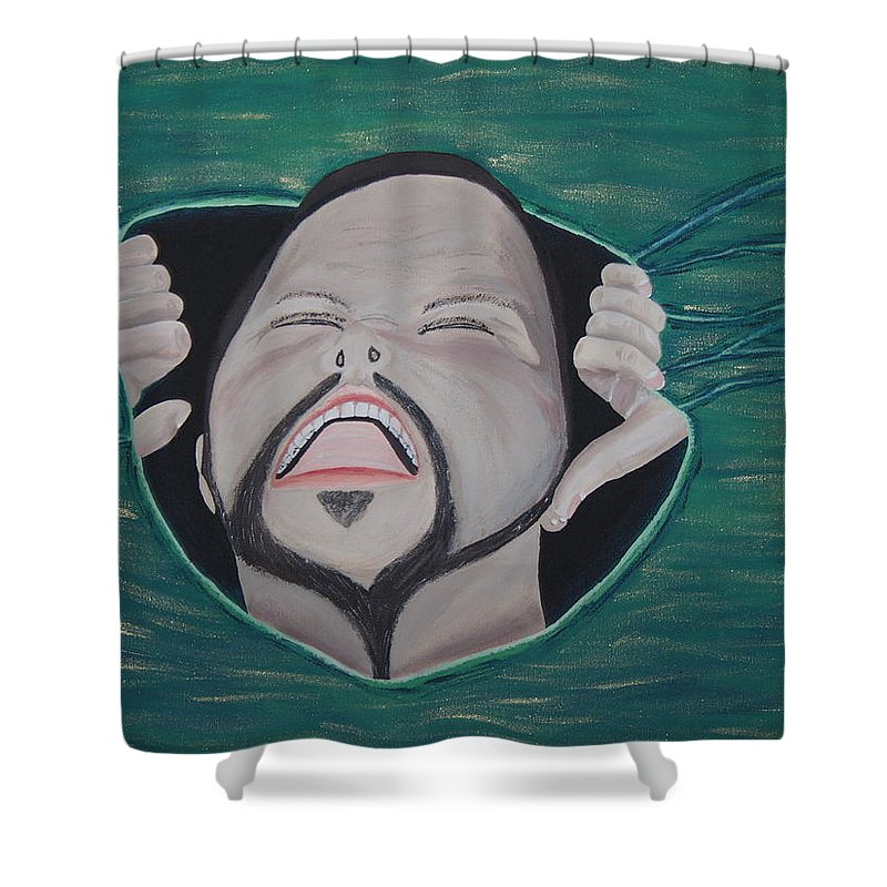 Arist Shower Curtain featuring the painting Im Not Insane It Is Greener by Dean Stephens