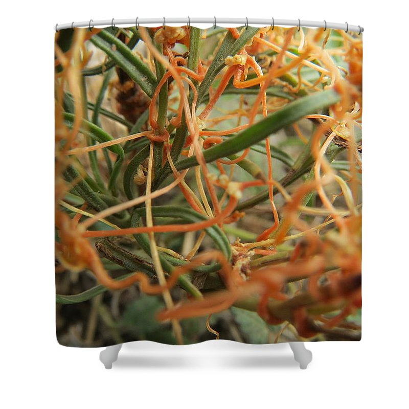 Orange Shower Curtain featuring the photograph I'm Strangling by Cindy Clements