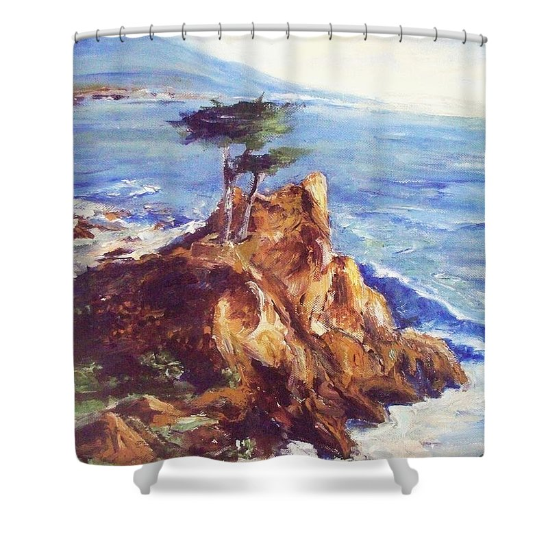 Seascape Shower Curtain featuring the painting Imaginary Cypress by Eric Schiabor
