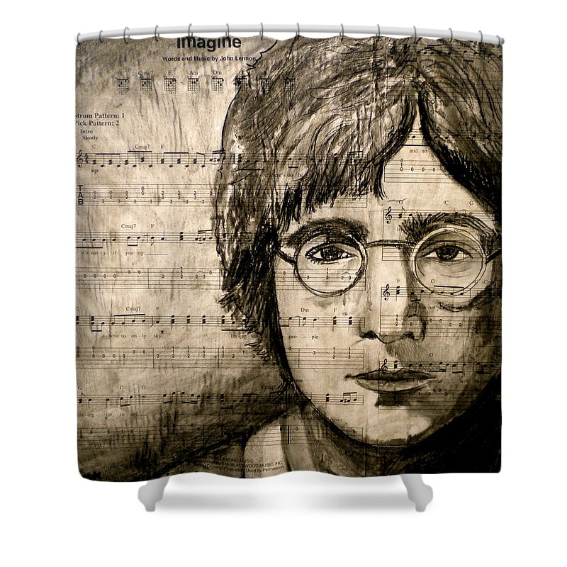 Imagine Shower Curtain featuring the drawing Imagine by Debi Starr