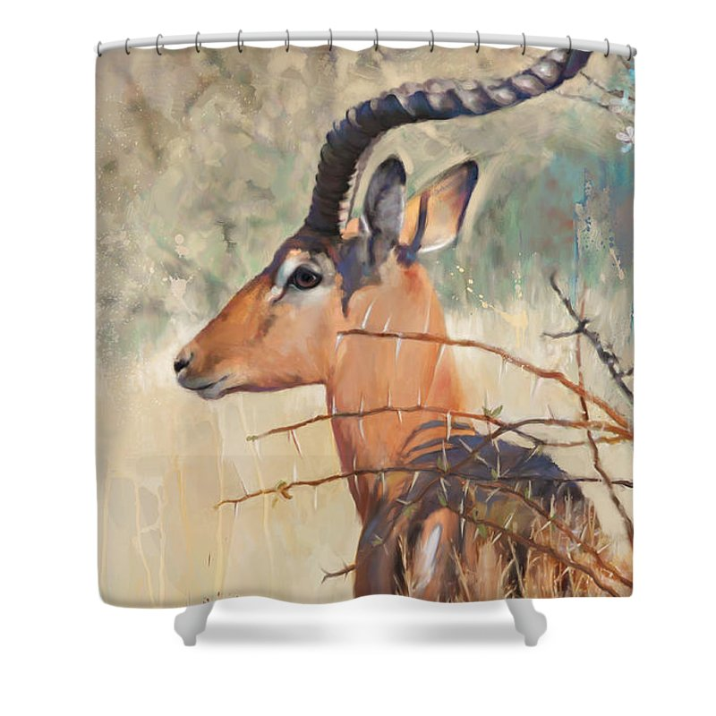 Impala Art Shower Curtain featuring the painting Impala by Rob Corsetti