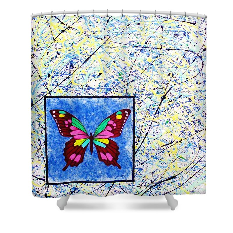 Abstract Shower Curtain featuring the painting Imperfect I by Micah Guenther