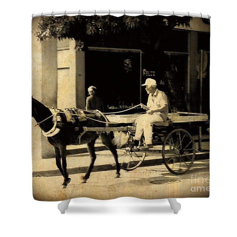 Horses Shower Curtain featuring the photograph In A Cuban Village by John Malone