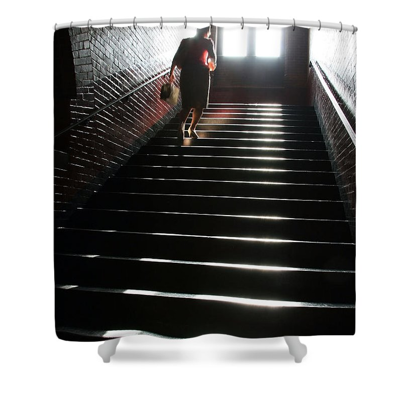 Woman Shower Curtain featuring the photograph In A Stairwell by Cora Wandel