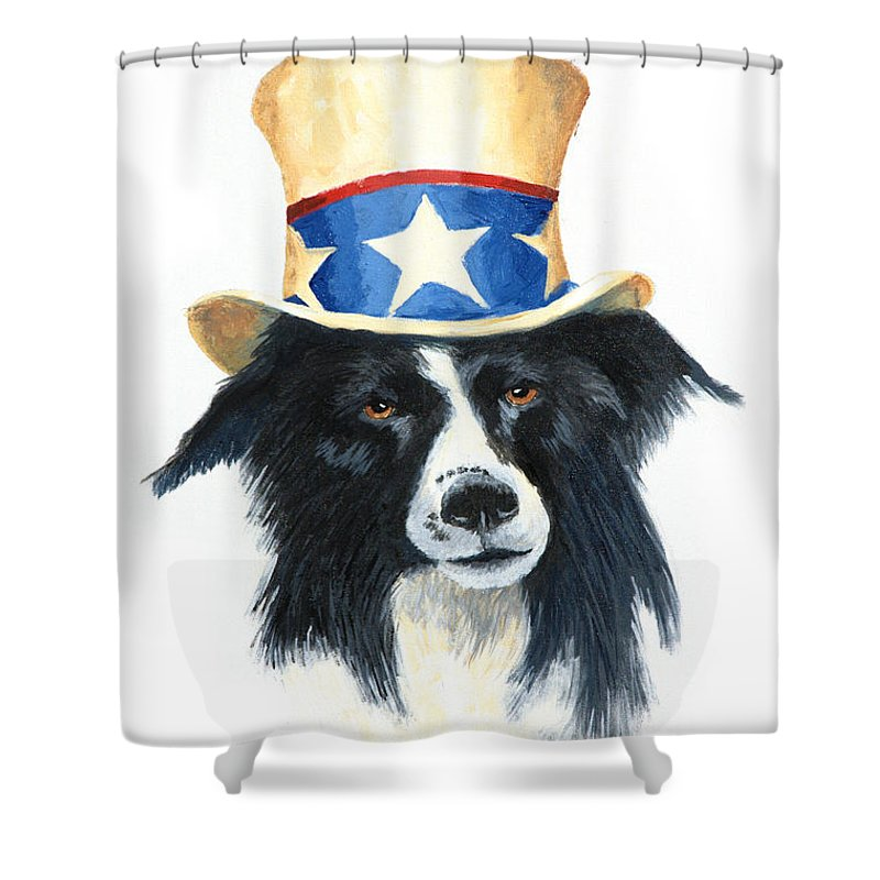 Dog Shower Curtain featuring the painting In Dog We Trust by Jerry McElroy