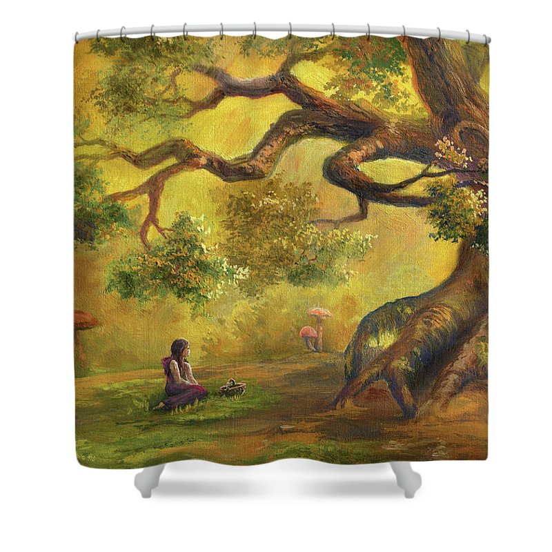 Oak Woodland Shower Curtain featuring the digital art In Fairy Forest by Pobytov
