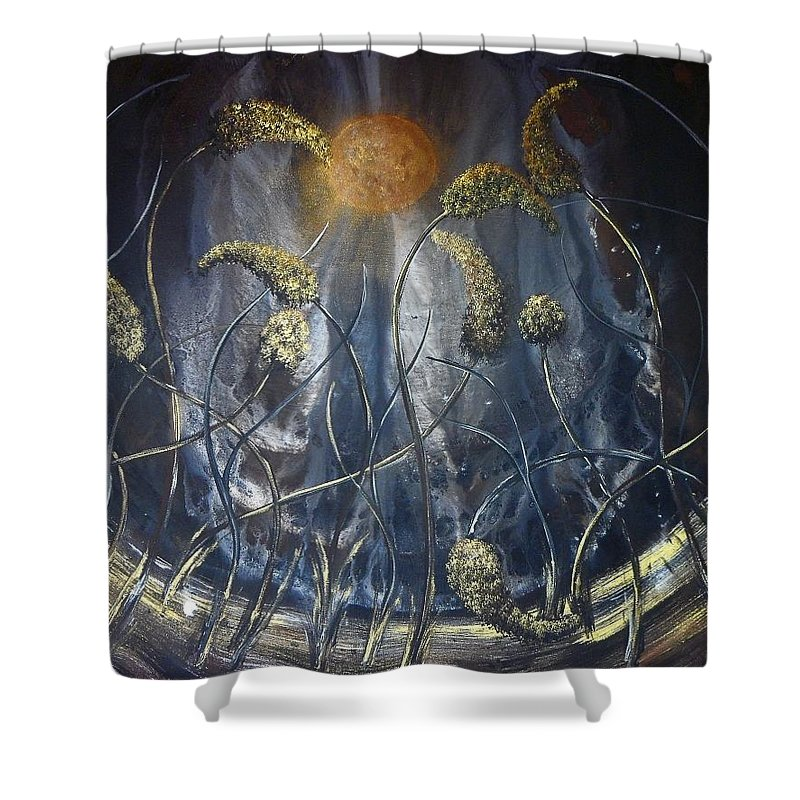 Landscape Shower Curtain featuring the painting In Flight by Ann Mikhail