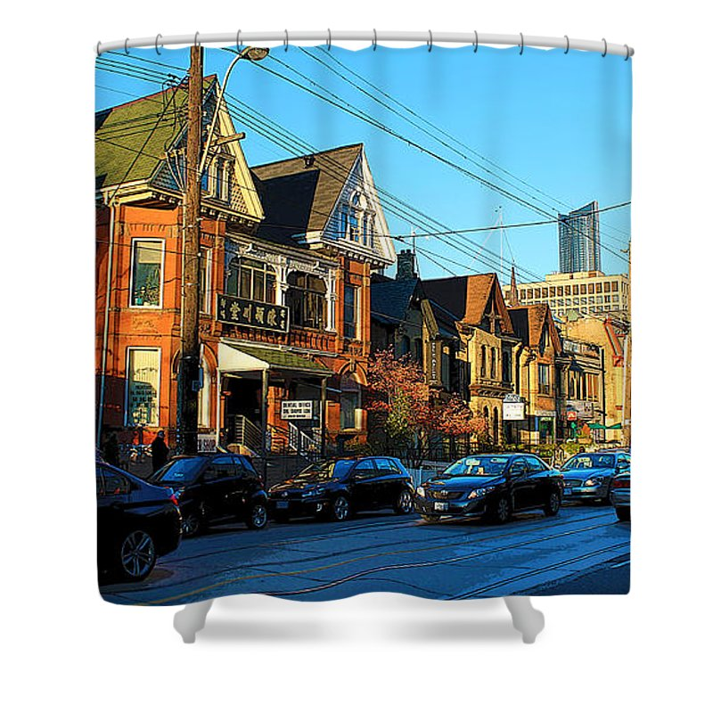 Art Gallery Shower Curtain featuring the photograph In Front Of The Ago At Dusk by Nina Silver