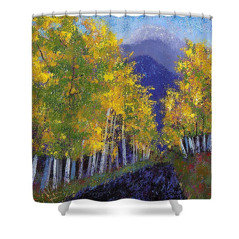 Purple And Yellow Paintings Shower Curtain featuring the painting In Love With Fall River Road by Margaret Bobb