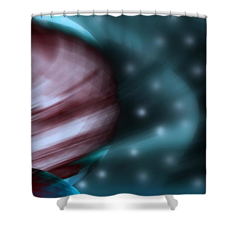 Space Art Shower Curtain featuring the digital art In Space by Linda Sannuti