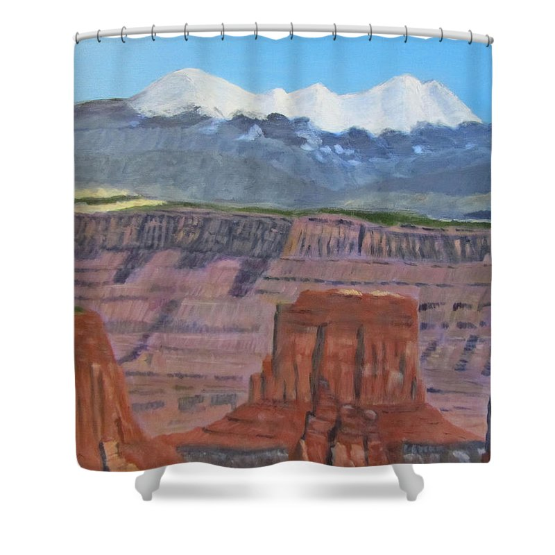 Landscape Shower Curtain featuring the painting In The Canyonlands Utah by Linda Feinberg