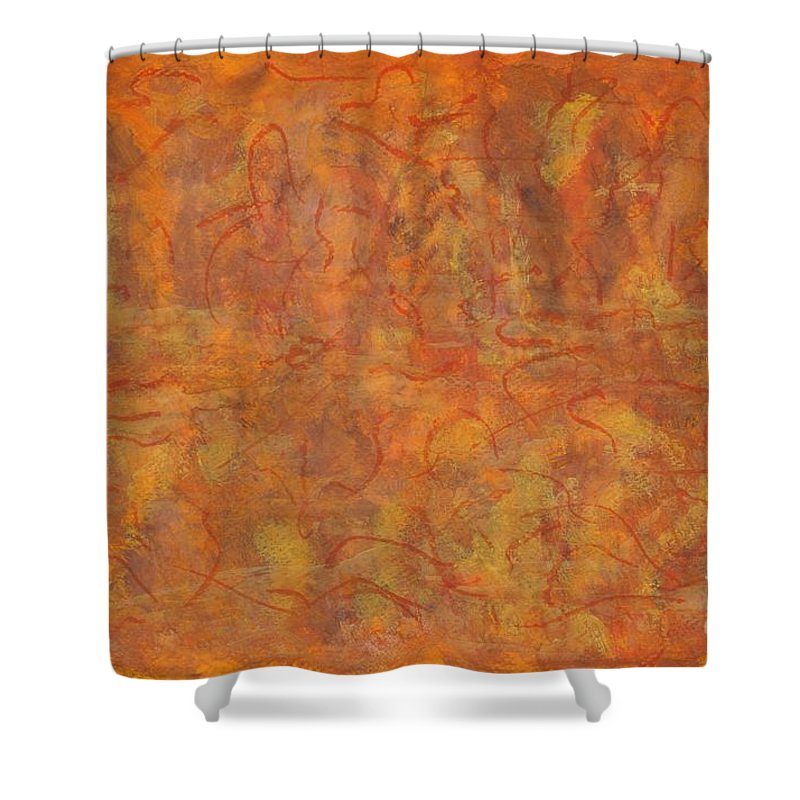 Abstract Shower Curtain featuring the painting In The Caverns You Will Find by Myrtle Joy