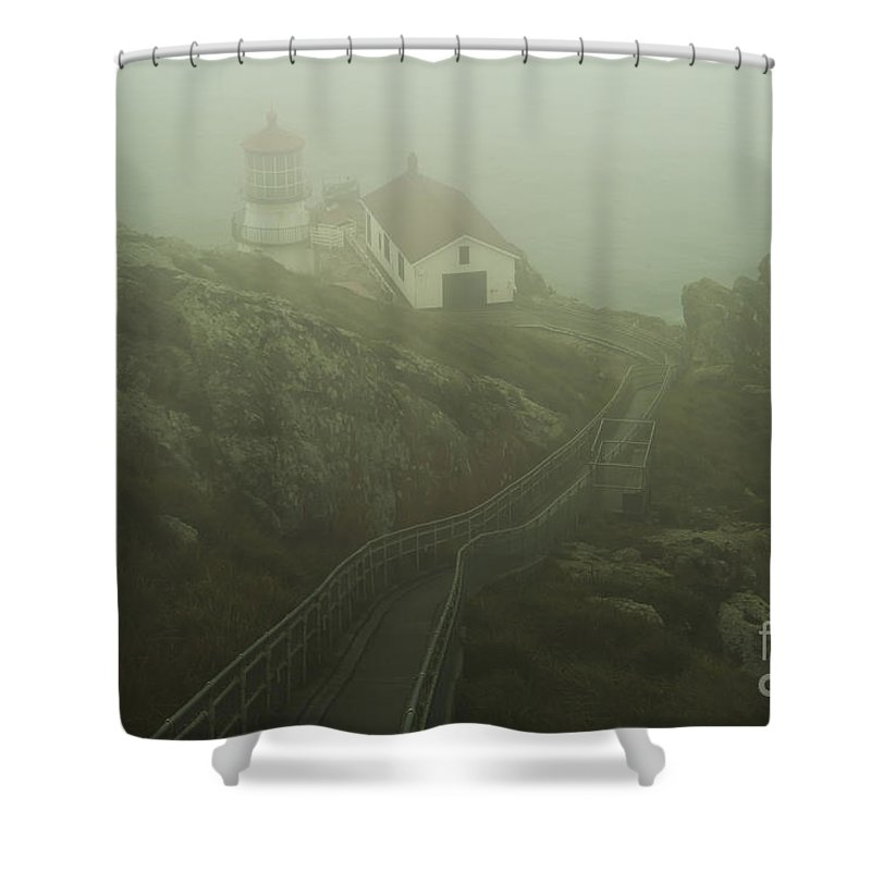 Lighthouse Shower Curtain featuring the photograph In The Fog by Paul Gillham