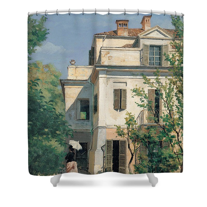 Garden Shower Curtain featuring the painting In The Garden by Demetrio Cosola