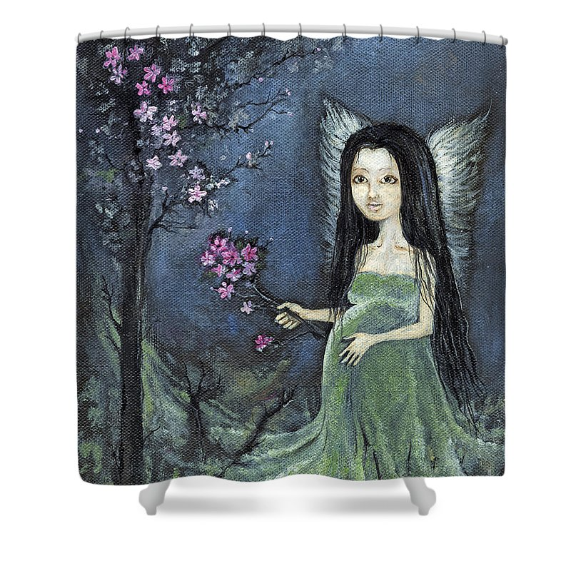 Angel Shower Curtain featuring the painting In The Orchard by Angel Ciesniarska