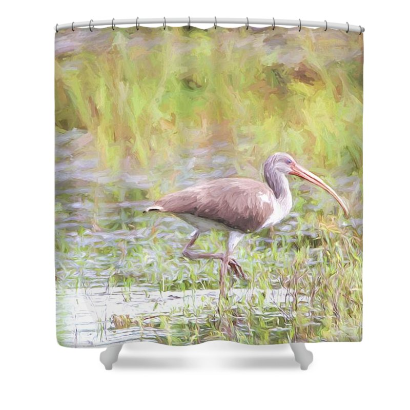 Bird Shower Curtain featuring the photograph In The Pasture Grass by Alice Gipson