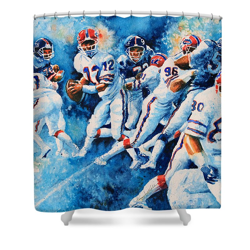 Sports Art Shower Curtain featuring the painting In The Pocket by Hanne Lore Koehler
