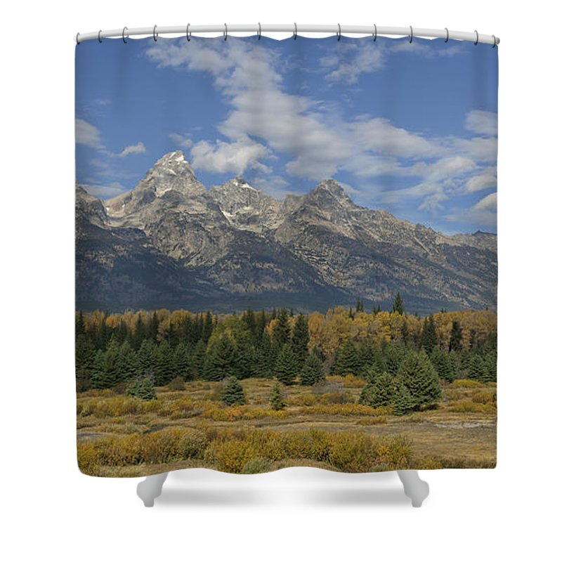 Hdr Shower Curtain featuring the photograph In The Shadow Of The Tetons by Sandra Bronstein