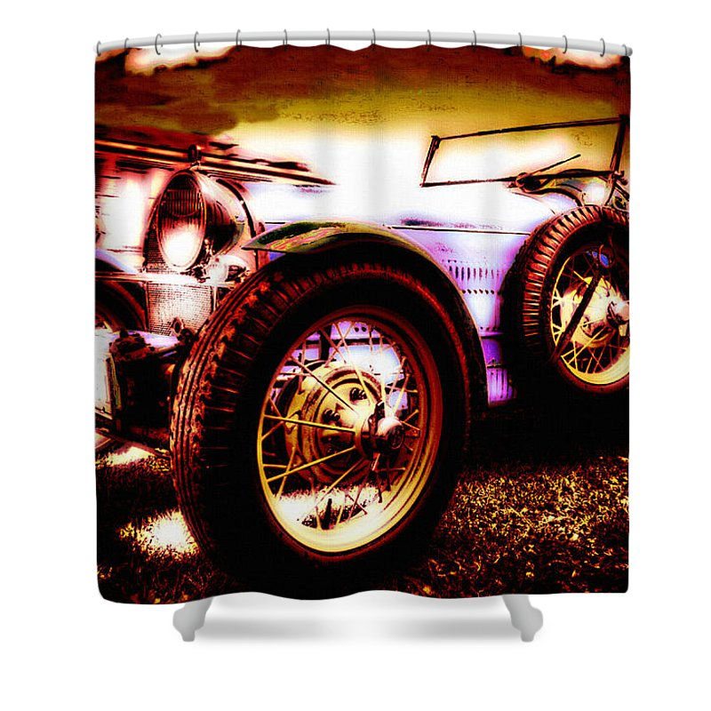 Car Shower Curtain featuring the photograph Wheels Of Time by Lyriel Lyra
