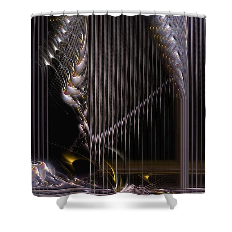 Abstract Shower Curtain featuring the digital art Incrementation by Casey Kotas
