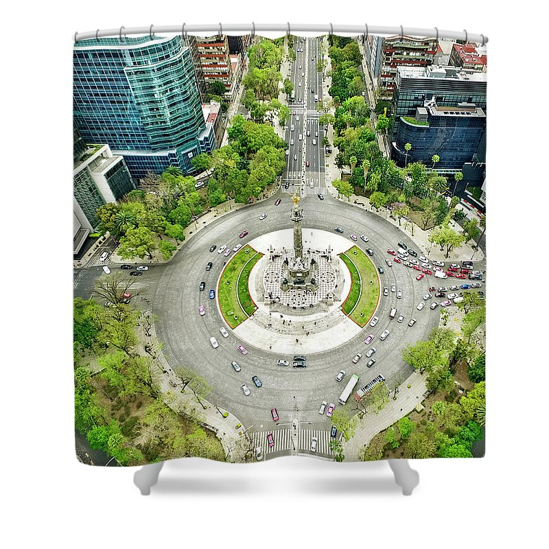 Mexico City Shower Curtain featuring the photograph Independence Monument In Mexico City by Orbon Alija