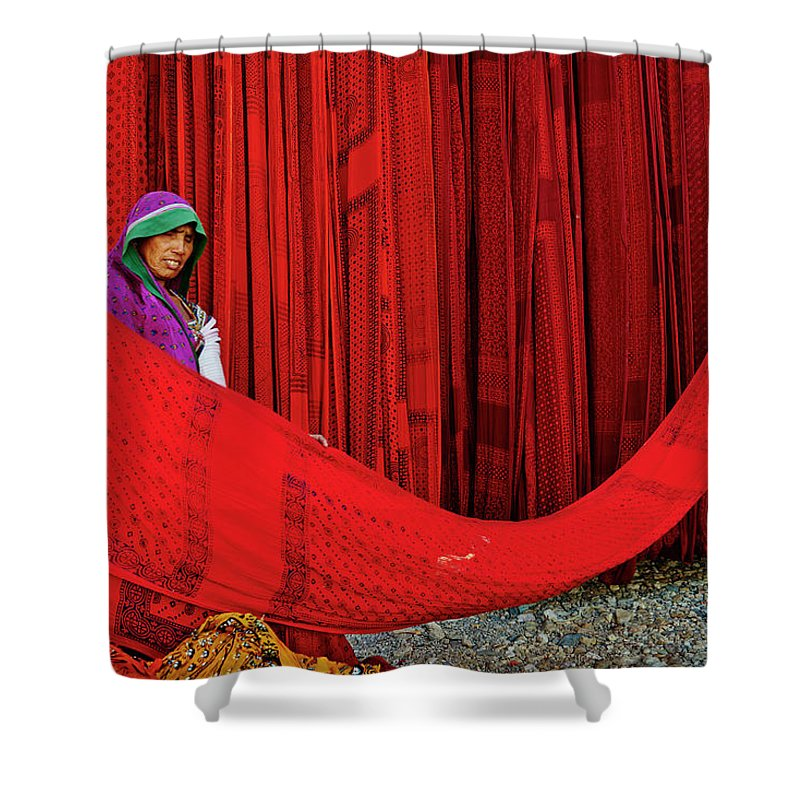 Expertise Shower Curtain featuring the photograph India, Rajasthan, Sari Factory by Tuul & Bruno Morandi