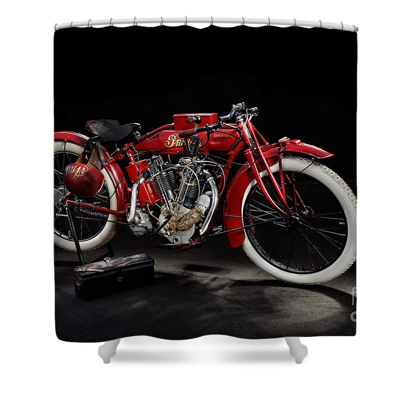 Motorcycle Shower Curtain featuring the photograph Indian 8-valve Racer by Frank Kletschkus