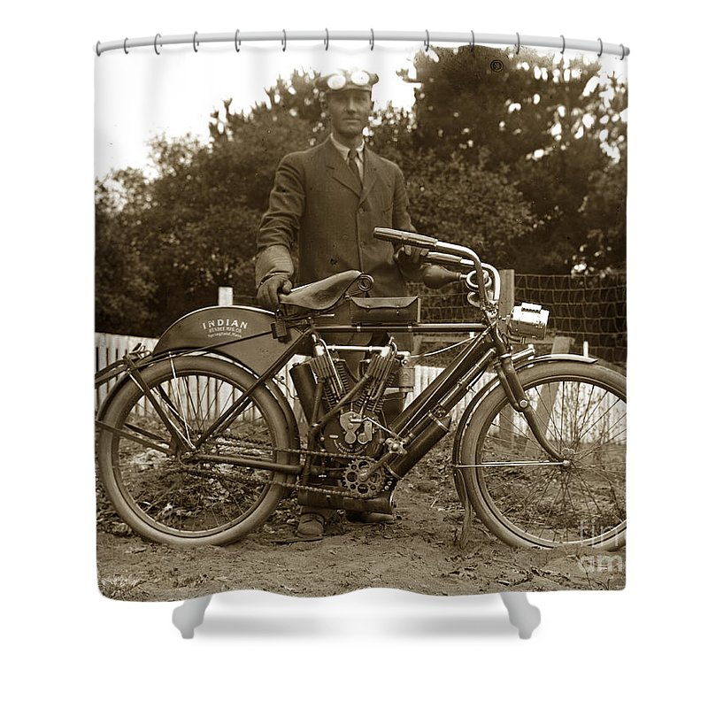 Indian Motorcycle Shower Curtain featuring the photograph Indian Camelback Motorcycle Circa 1908 by California Views Mr Pat Hathaway Archives