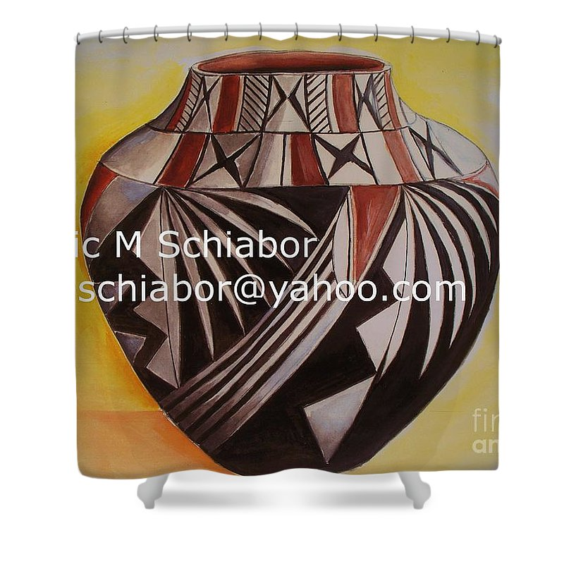 Indian Shower Curtain featuring the painting Indian Pottery by Eric Schiabor