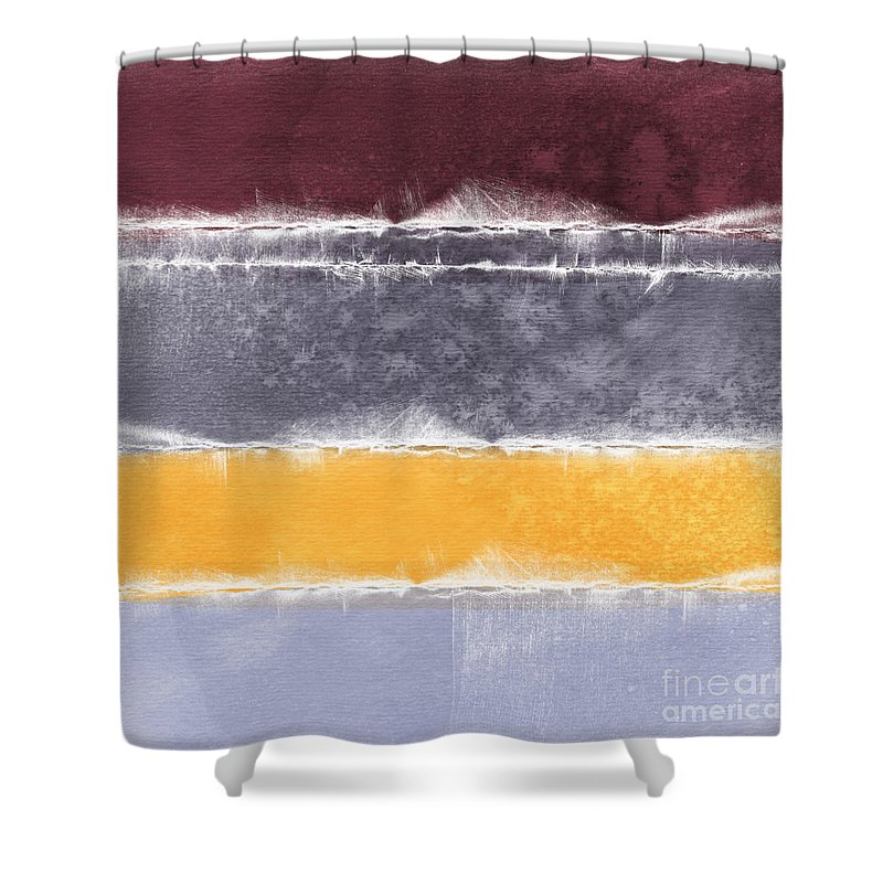 Abstract Shower Curtain featuring the painting Indian Summer by Linda Woods