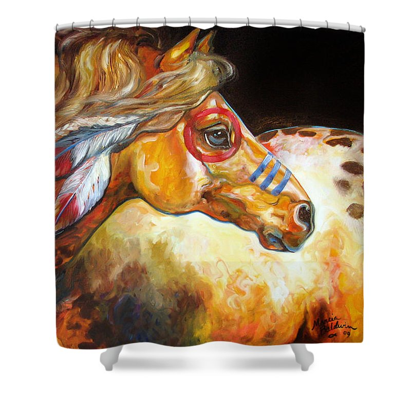 Horse Shower Curtain featuring the painting Indian War Horse Golden Sun by Marcia Baldwin